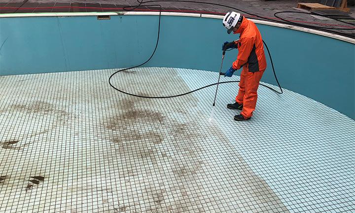 コンクリート掃除業者の施設洗浄